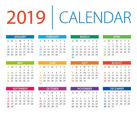Calendar 2019 - vector illustration. Days start from Sunday - gettyimageskorea