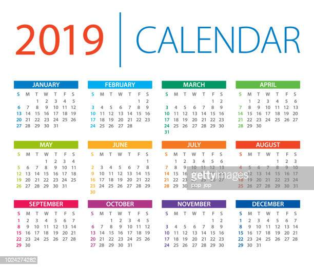 calendar 2019 - vector illustration. days start from sunday - august stock illustrations