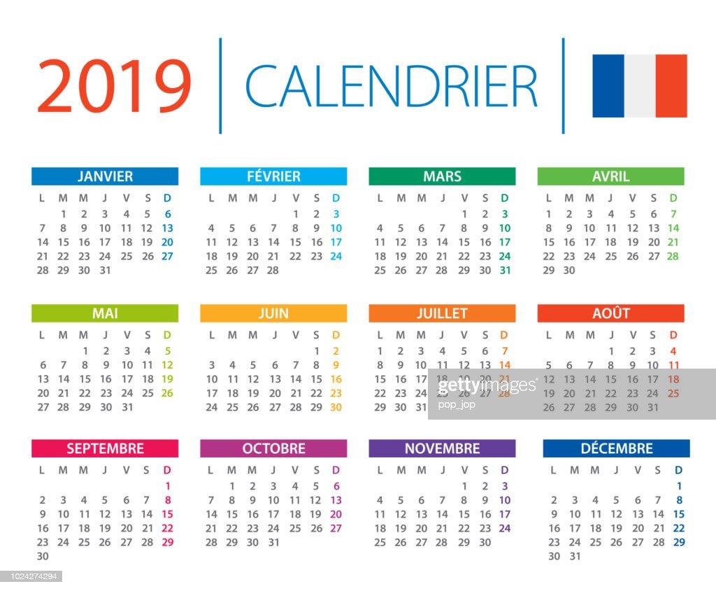 Calendario Frances.Calendario 2019 Ilustracao Vetorial Versao Em Frances