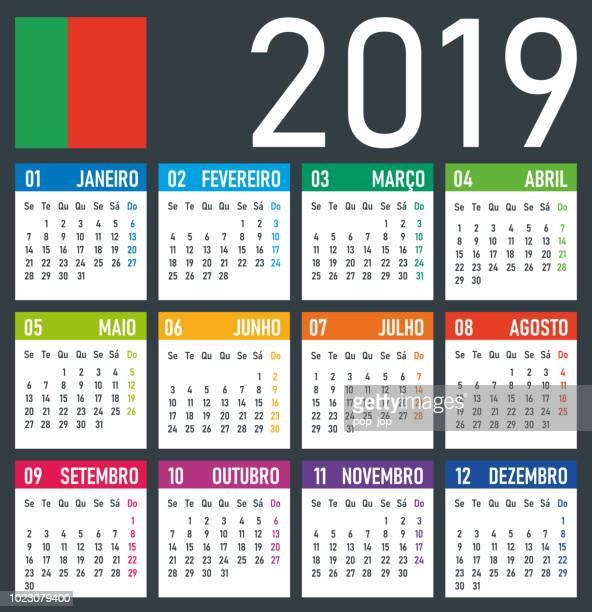 ilustrações, clipart, desenhos animados e ícones de calendário 2019 - ilustração vetorial. versão em português - 2019