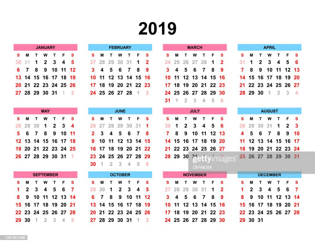 Calendrier 2019 Vectoriel.Set Vector Calendrier 2019 Illustration Getty Images