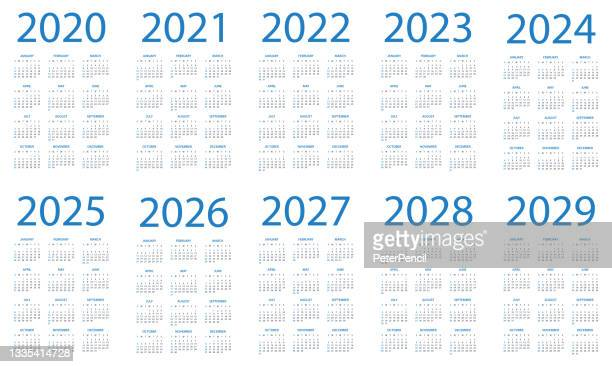 calendar 2020 2021 2022 2023 2024 2025 206 2027 2028 2029 - symple layout illustration. week starts on sunday. calendar set for 2020 2021 2022 2023 2024 2025 2026 2027 2028 2029 years - 2020 2029 stock illustrations