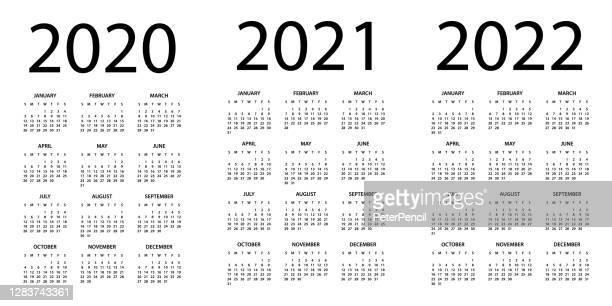 calendar 2020 2021 2022 - symple layout illustration. week starts on sunday. calendar set for 2020 2021 2022 years - calendar stock illustrations