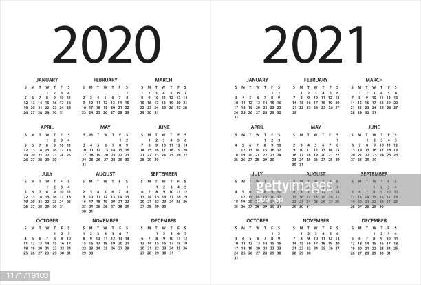 calendar 2020 2021 - illustration. days start from sunday - august stock illustrations