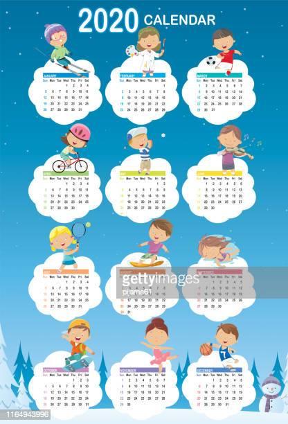 calendar 2020 cartoon - week stock illustrations