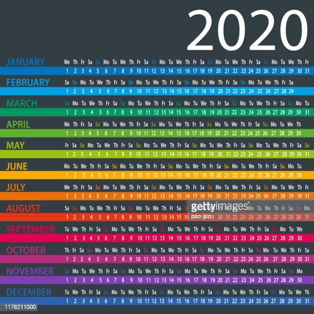 calendar 2020 - columns dark - week stock illustrations