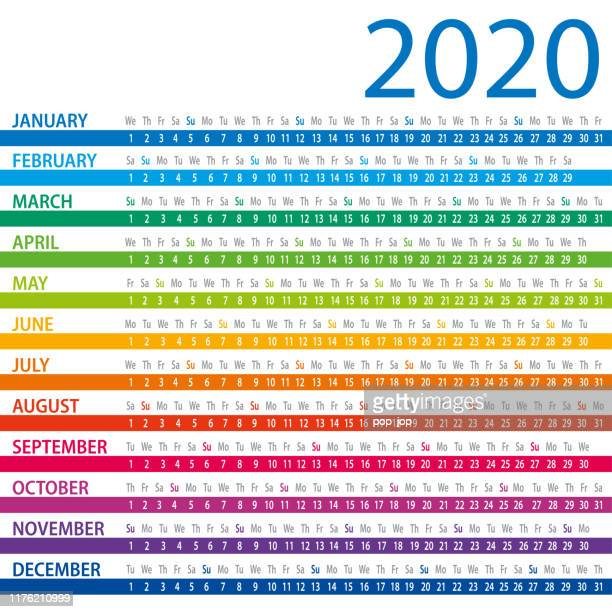 calendar 2020 - columns - august stock illustrations