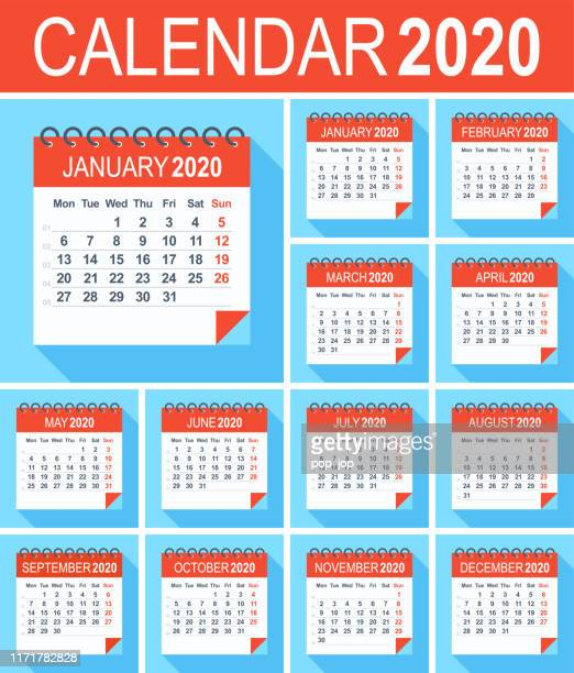 calendar 2020 - flat modern blue red. week starts from monday - february stock illustrations