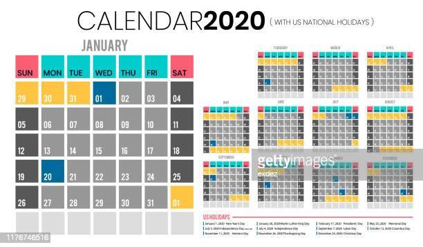 calendar 2020 including us holidays - june stock illustrations
