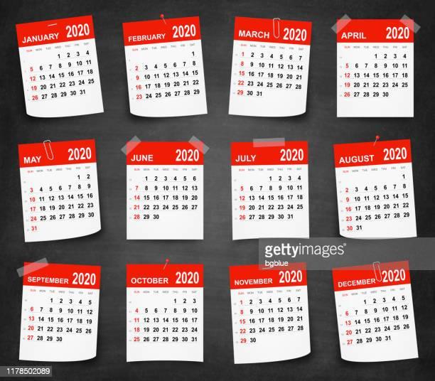 kalender 2020 an der tafel - tafel - the black tape project stock-grafiken, -clipart, -cartoons und -symbole