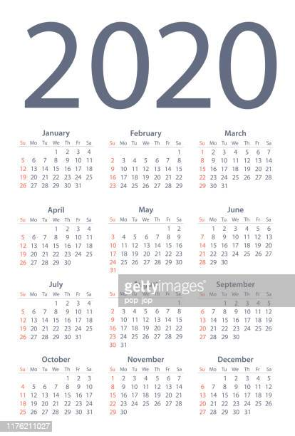 calendar 2020 simple. days start from sunday - vertical stock illustrations