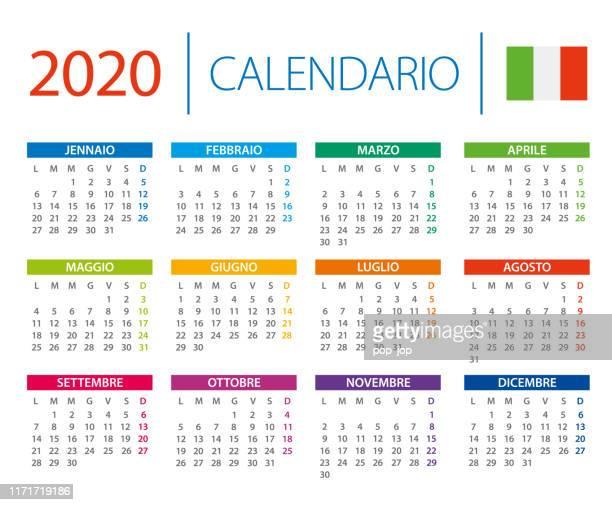 illustrazioni stock, clip art, cartoni animati e icone di tendenza di calendario 2020 - illustrazione vettoriale. versione italiana - 2020