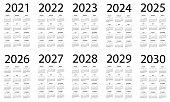 Calendar 2021 2022 2023 2024 2025 206 2027 2028 2029 2030 - Symple Layout Illustration. Week starts on Sunday. Calendar Set for 2020 2021 2022 2023 2024 2025 2026 2027 2028 2029 years