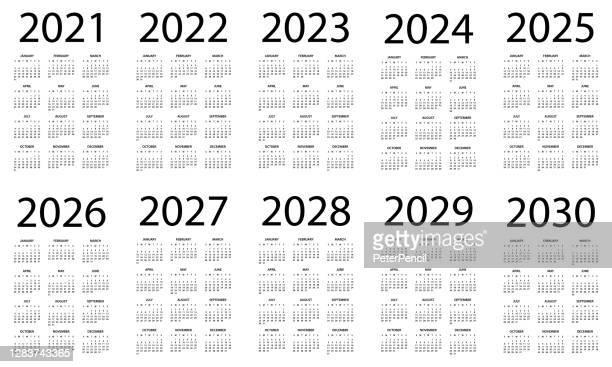 calendar 2021 2022 2023 2024 2025 206 2027 2028 2029 2030 - symple layout illustration. week starts on sunday. calendar set for 2020 2021 2022 2023 2024 2025 2026 2027 2028 2029 years - monday stock illustrations
