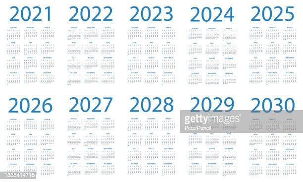 calendar 2021 2022 2023 2024 2025 206 2027 2028 2029 2030 - symple layout illustration. week starts on sunday. calendar set for 2020 2021 2022 2023 2024 2025 2026 2027 2028 2029 years - 2020 2029 stock illustrations