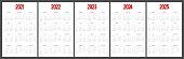 Calendar 2021, 2022, 2023, 2024, 2025 week start Sunday corporate design template. 5 years calendar.