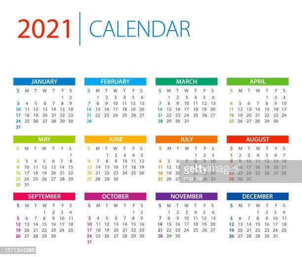 calendar 2021 - color vector illustration. week starts on sunday - february stock illustrations