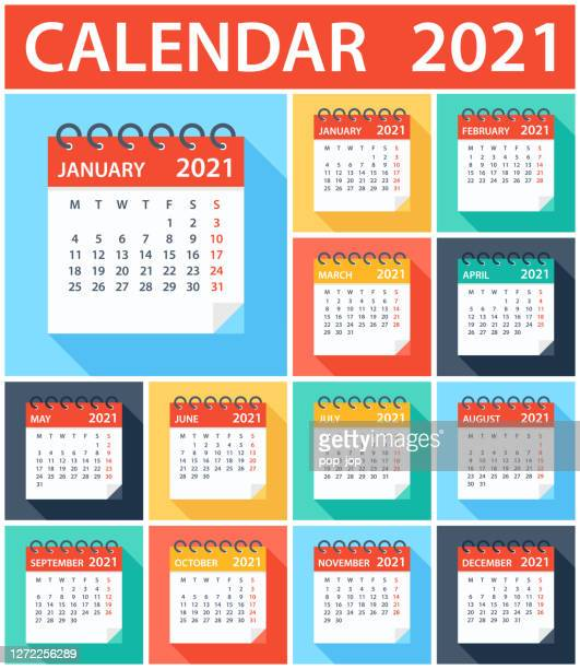 calendar 2021 - flat modern colorful. week starts on monday - 2021 stock illustrations