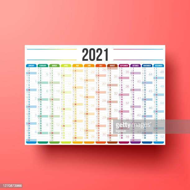 calendar 2021 isolated on red background - 2021 stock illustrations