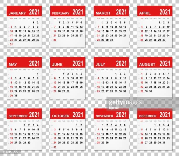 calendar 2021 on blank brackground - today single word stock illustrations