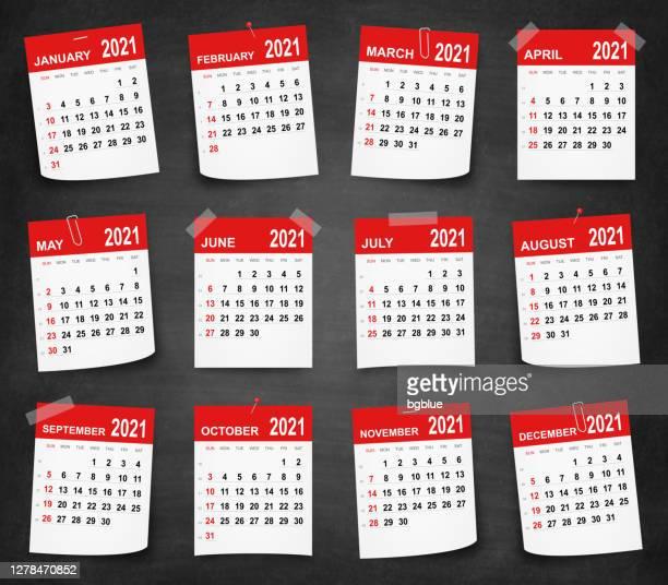kalender 2021 an der tafel - tafel - the black tape project stock-grafiken, -clipart, -cartoons und -symbole