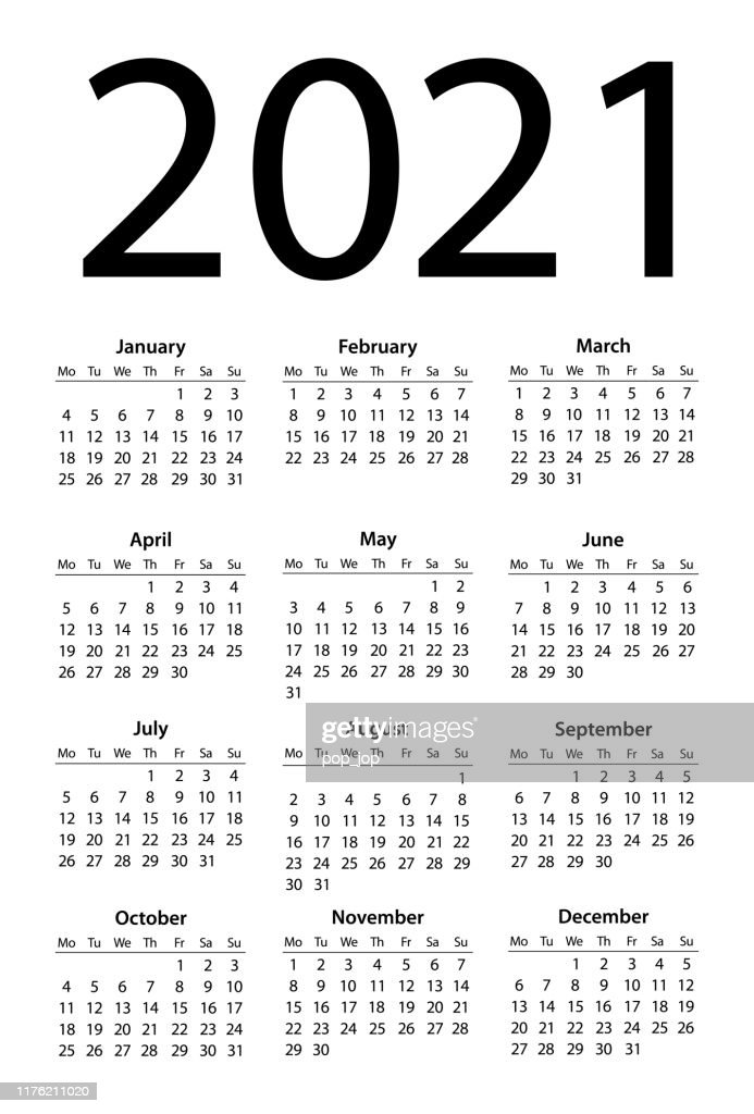 Calendar 2021 Simple Days Start From Monday High Res Vector