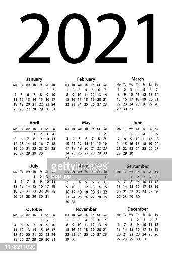 Calendar 2021 Simple Days Start From Monday High-Res ...