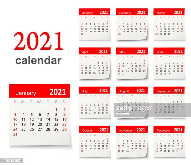 calendar 2021 vector design template week start on sunday, isolated on a white background. calendar paper leaf. - monthly event stock illustrations