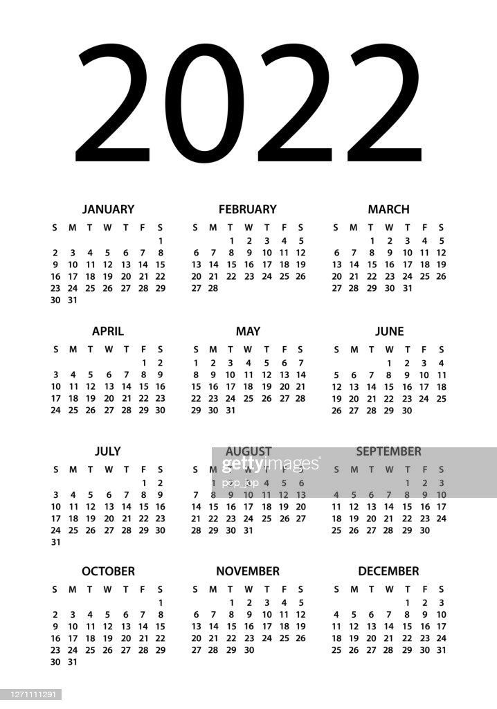Options Expiration Calendar 2022.Calendar 2022 Vector Illustration Week Starts On Sunday High Res Vector Graphic Getty Images