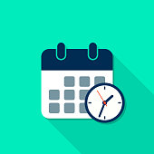Calendar and Clock reminder icon with long shadow in flat style. Vector isolated illustration