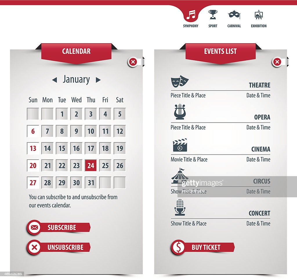 calendar and icons