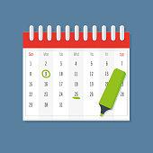 Calendar and marker. Flat vector illustration