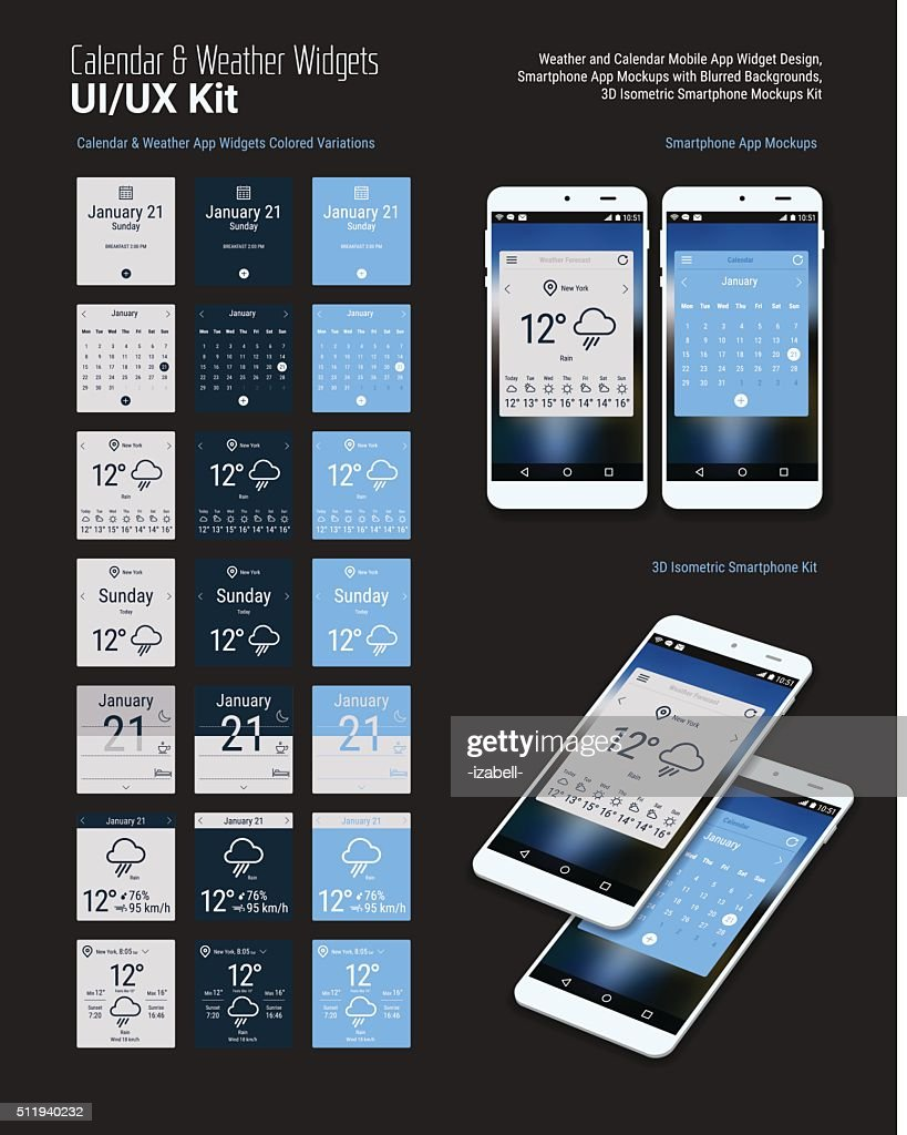 Calendar and Weather Mobile App Widgets UI Designs with Smartphone