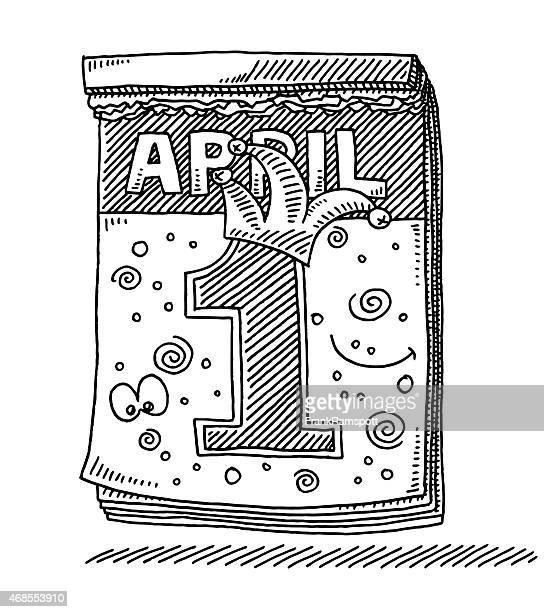 kalender april fool's day-zeichnung - aprilscherz stock-grafiken, -clipart, -cartoons und -symbole