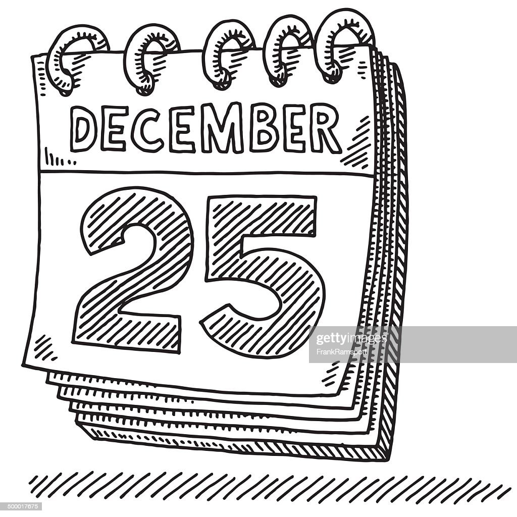 Christmas Calendar Illustration : Calendar christmas december drawing vector art getty