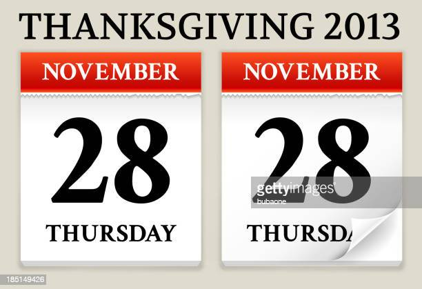 calendar date showing thanksgiving - thursday stock illustrations