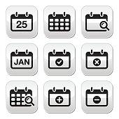 Calendar date vector buttons set