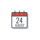 Calendar day icon isolated on white background. August 24.