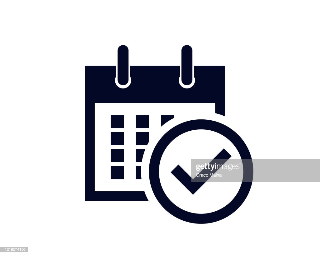 Calendar days of the month with a scheduled reminder with a tick check mark : stock illustration