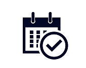 Calendar days of the month with a scheduled reminder with a tick check mark