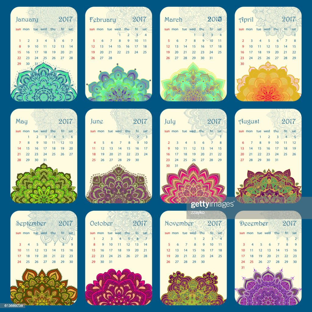 2017 Calendar decorated with circular flower mandala
