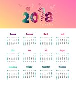 2018 calendar design.