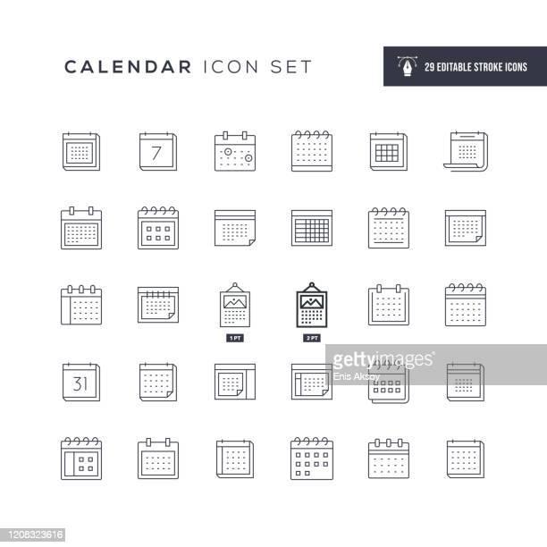 calendar editable stroke line icons - calendar stock illustrations