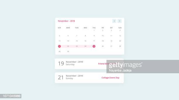 ilustrações, clipart, desenhos animados e ícones de design de interface do usuário de eventos de calendário - prazo