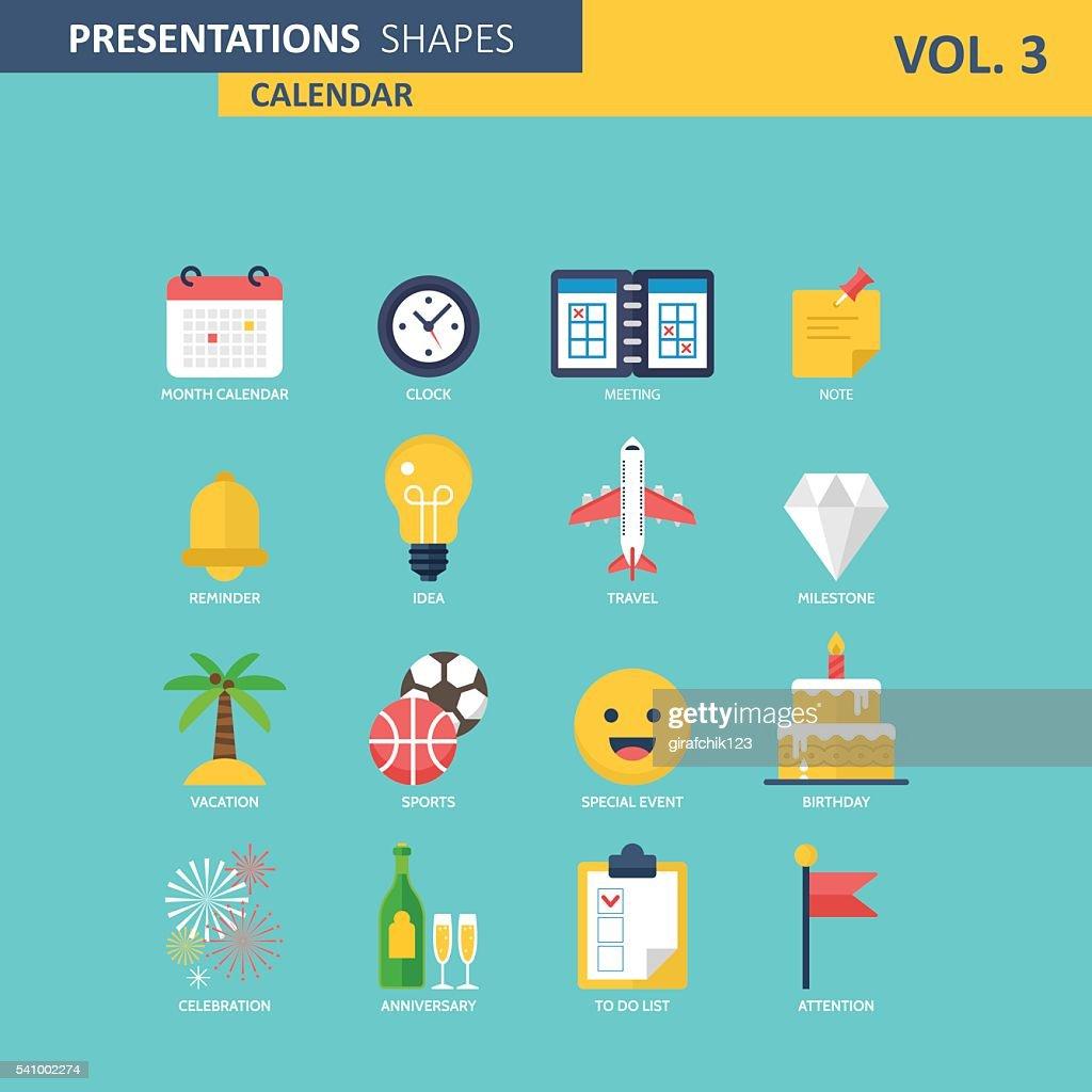 Calendar events modern icons. Presentation shapes