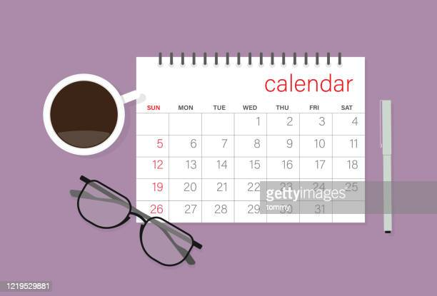 calendar, eyeglasses, coffee cup and pen - routine stock illustrations