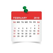 Calendar february 2019 year in paper sticker with pin. Calendar planner design template. Agenda february monthly reminder. Business vector illustration.