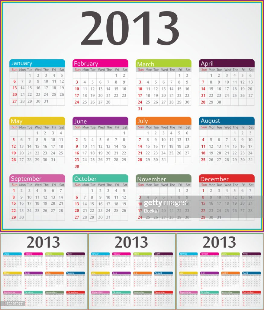 Calendar for 2013 year in four different languages
