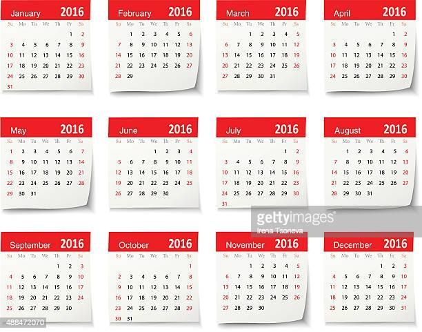 calendar for 2016 - vector - 2016 stock illustrations, clip art, cartoons, & icons