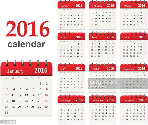 Calendar for 2016 - Vector